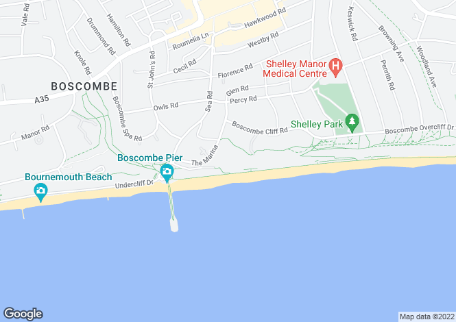 Map for APARTMENT 26 at Honeycombe Beach, Honeycombe Chine,