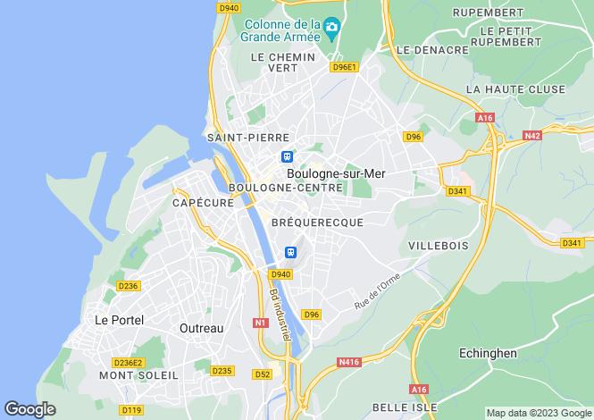 Map for boulogne-sur-mer, Pas-de-Calais, France