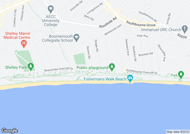 Map for Boscombe Overcliff Drive, Southbourne, BH5
