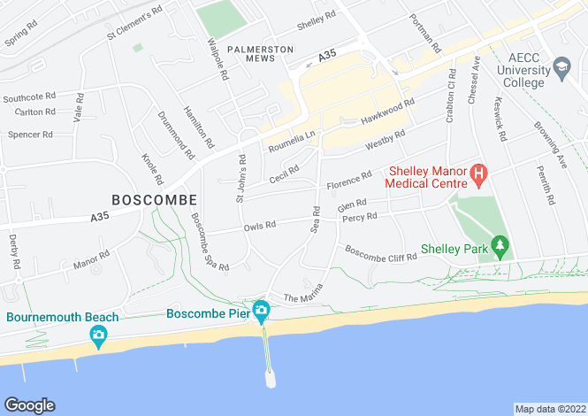 Map for Owls Road, BOURNEMOUTH