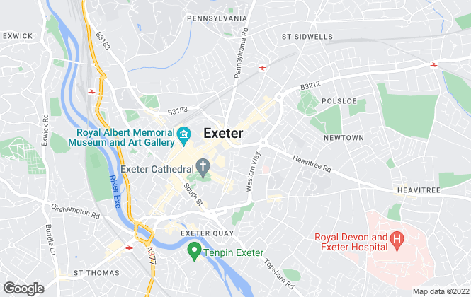 Map for Fulfords Lettings, Exeter (City Centre)
