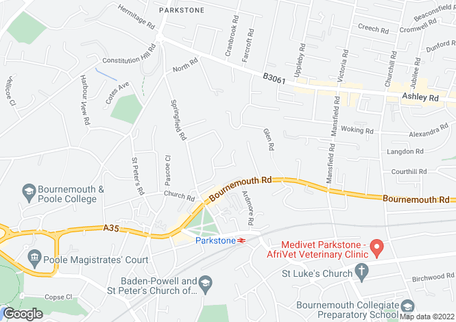 Map for Dansie Close, Lower Parkstone