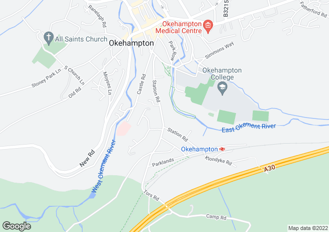 Map for Okehampton, Devon