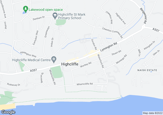 Map for Lymington Road, Highcliffe, Christchurch, BH23