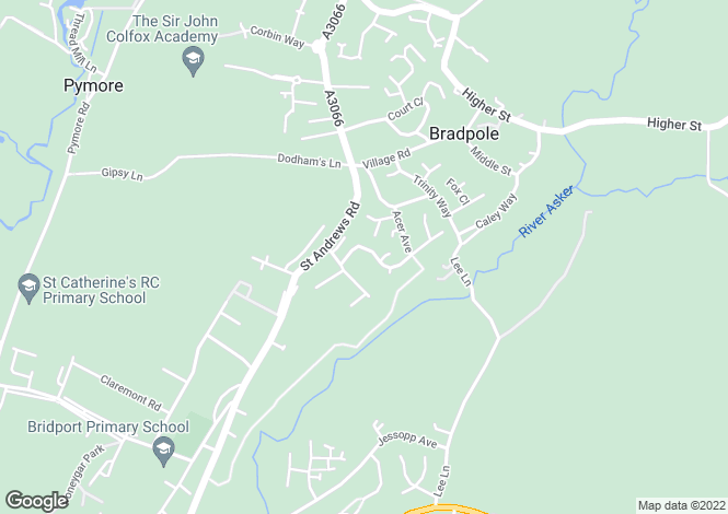Map for Wellfields Drive, Bradpole, Bridport, DT6 3HH