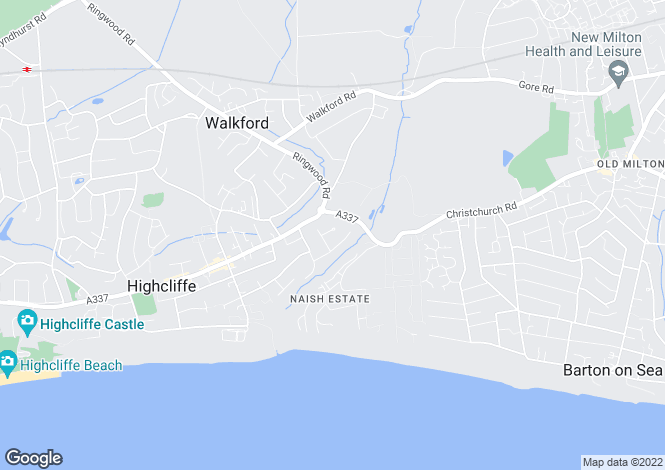 Map for HIGHCLIFFE ON SEA