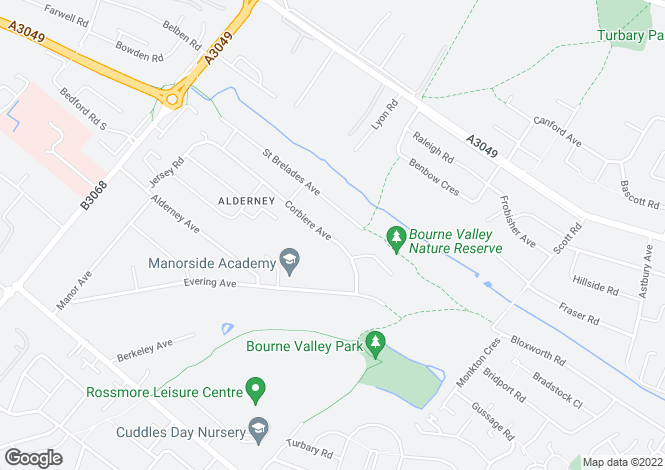 Map for Corbiere Avenue, Alderney, Poole