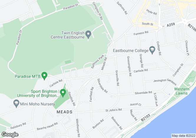 Map for Naomi Close, Eastbourne, East Sussex