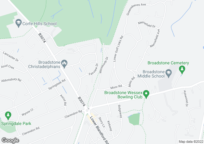 Map for Wentworth Drive, Broadstone, Dorset