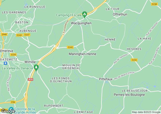 Map for maninghen-henne, Pas-de-Calais, France