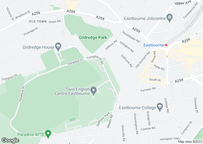 Map for Compton Place Road, Eastbourne, East Sussex