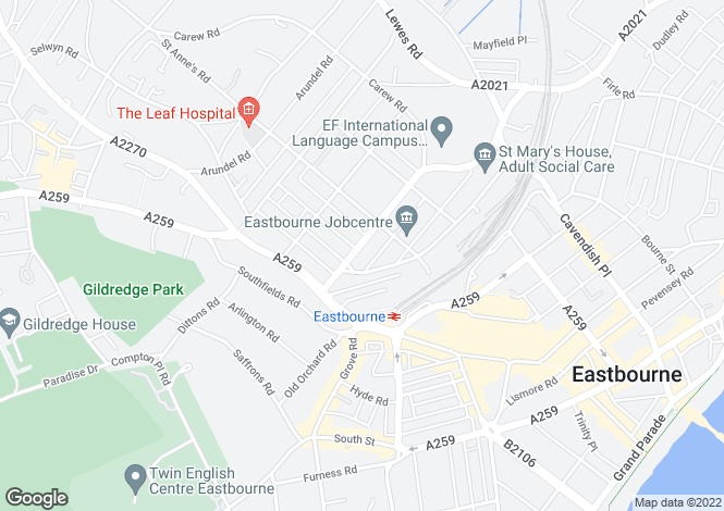 Map for Eastbourne, East Sussex