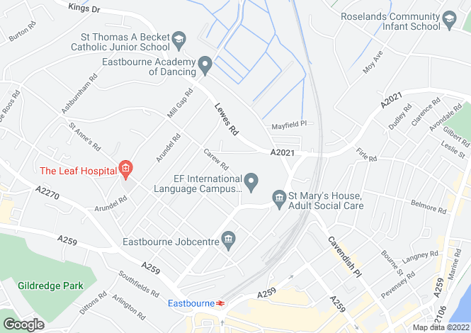 Map for The Hawthornes, 4 Carew Road, EASTBOURNE, East Sussex, BN21 2BF