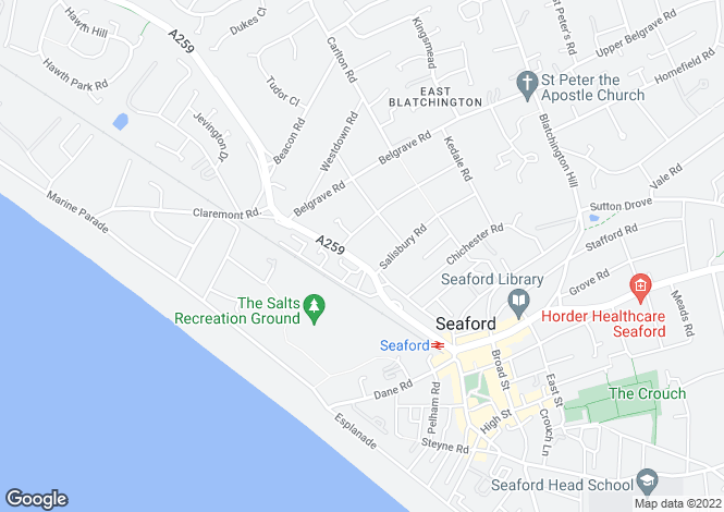 Map for Claremont Road, Seaford, BN25 2BH