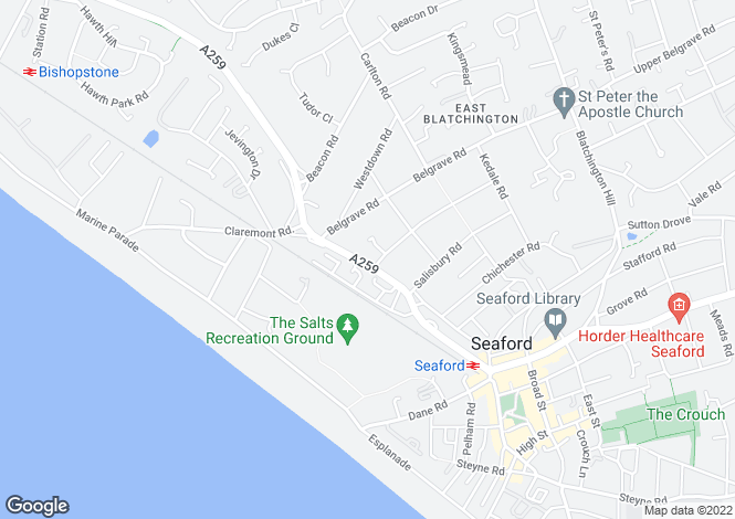 Map for Station Approach/Claremont Road, SEAFORD, East Sussex