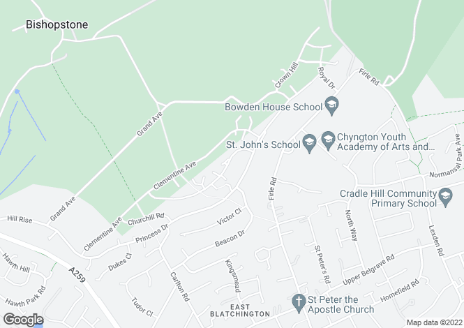 Map for 91 Katherine Way, Seaford, East Sussex
