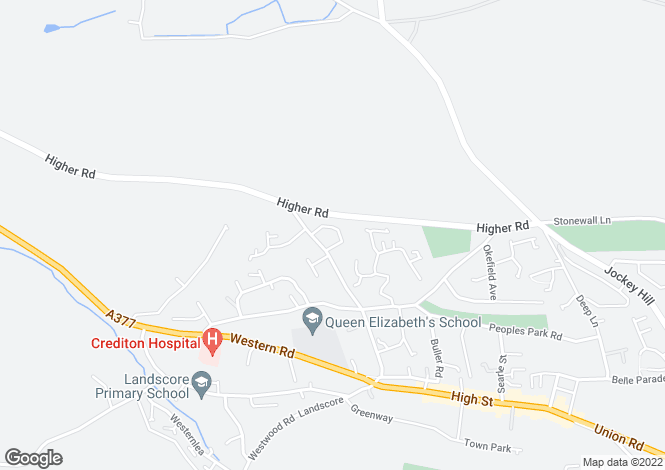 Map for George Hill, Crediton, Devon