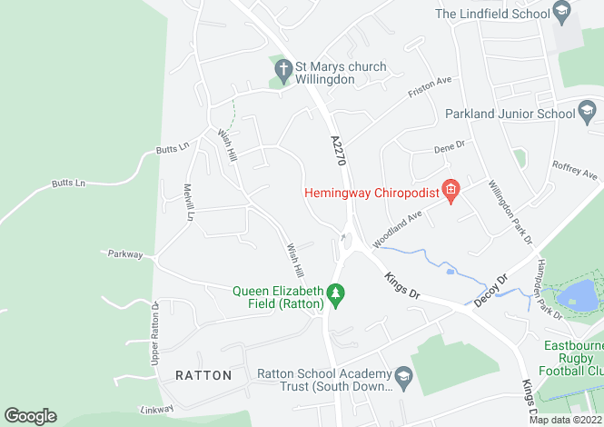 Map for Upper Kings Drive, Willingdon, Eastbourne, East Sussex