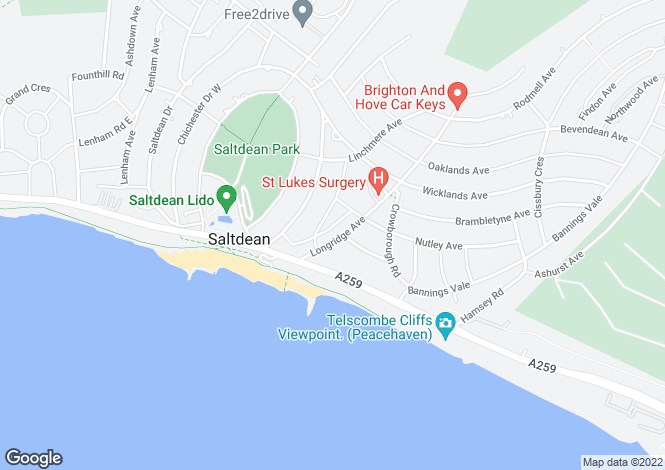 Map for Longridge Avenue, Saltdean, BN2 8LG