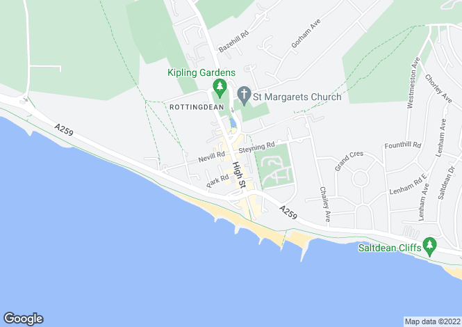 Map for High Street, Rottingdean