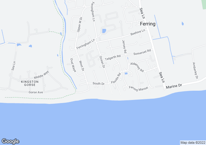 Map for Ocean Drive, Ferring, Worthing, BN12