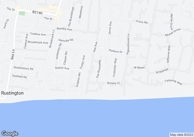 Map for The Roundway, Rustington, BN16 2BW