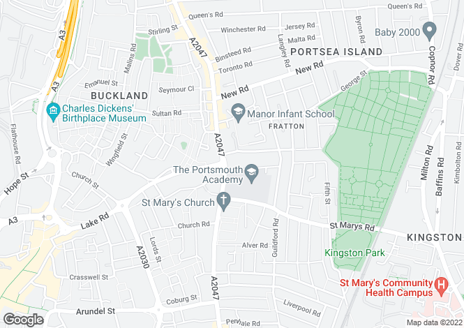 Map for Fratton Road, Portsmouth, Hampshire