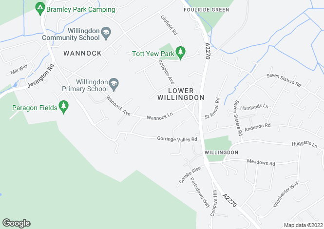 Map for Wannock Lane,