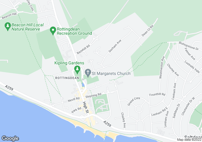 Map for Dean Court Road, Rottingdean, Brighton, East Sussex