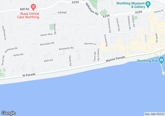 Map for Wordsworth Road, Worthing, BN11