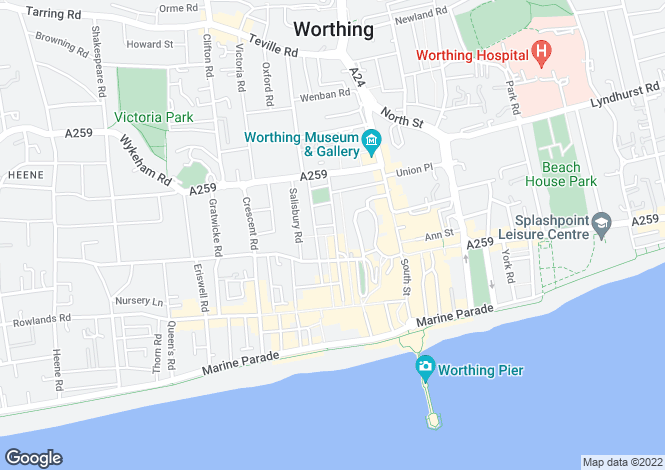 Map for Portland Road, Worthing