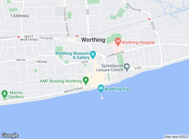 Map for Martin & Co, Worthing - Lettings
