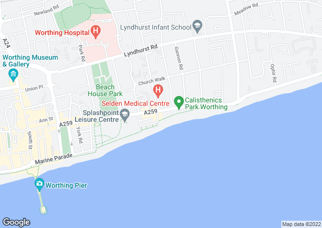 Map for 2 bedroom Flat/Apartment in Worthing/Town Centre
