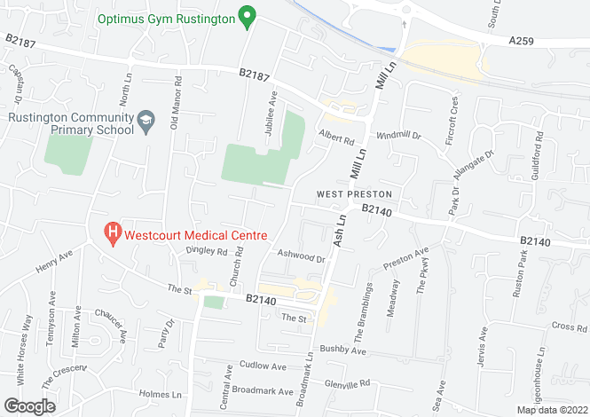 Map for Woodlands Avenue, Rustington, West Sussex