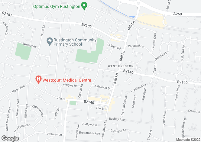 Map for Mendip Court, Woodlands Avenue, Rustington