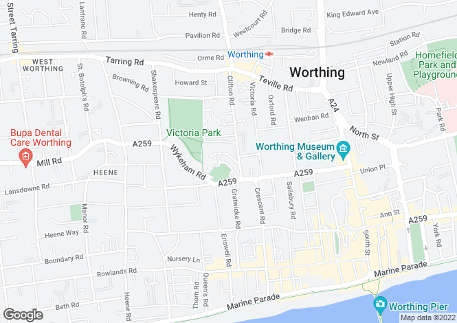 Map for Park Crescent, Worthing