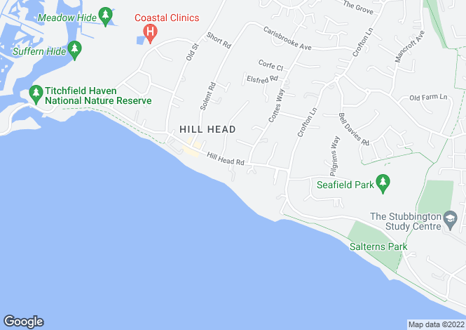 Map for Hill Head Road, Hill Head, Hampshire, PO14