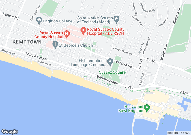Map for Kemp Town Place, Brighton, East Sussex, BN2