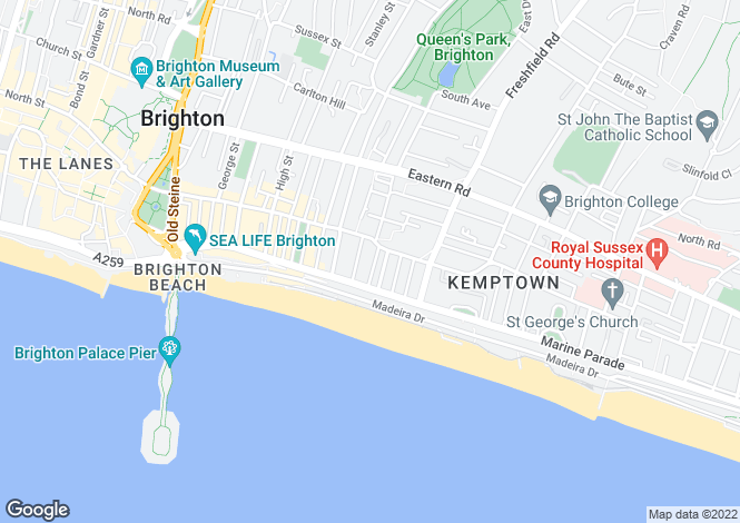 Map for Brighton, East Sussex