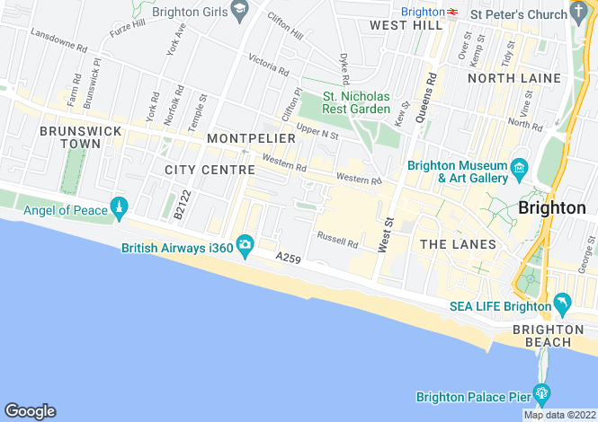 Map for Valentine House Hotel, Brighton, East Sussex