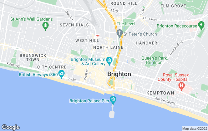 Map for Hall's Estate Agents, Brighton, New Road