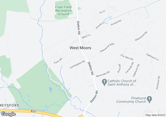 Map for Penn Court, Station Road, West Moors, Ferndown, BH22 0JJ