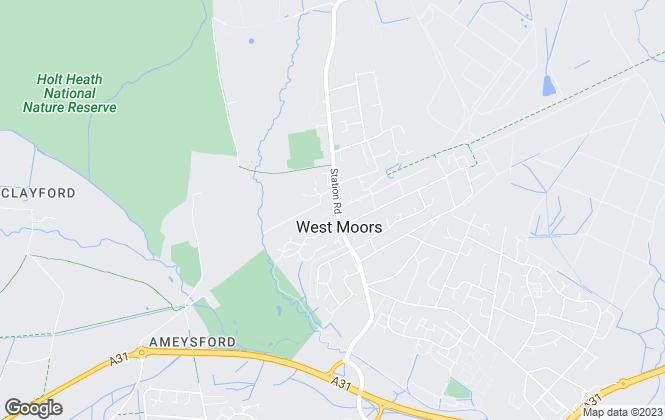 Map for Castleman Estate Agents, West Moors
