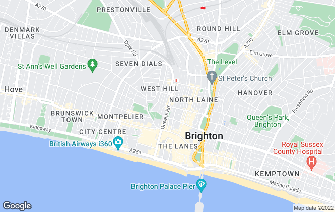 Map for Parsons Son & Basley, Brighton - Lettings
