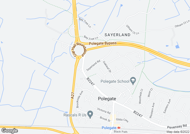 Map for Sayerland Road, POLEGATE, East Sussex