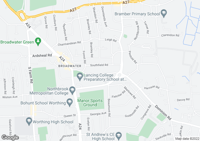 Map for Retirement Flat in Broadwater Street East