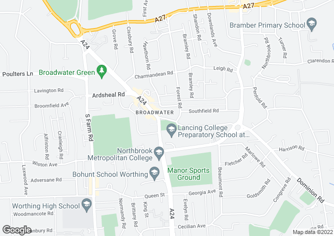 Map for Broadwater Street East, Worthing