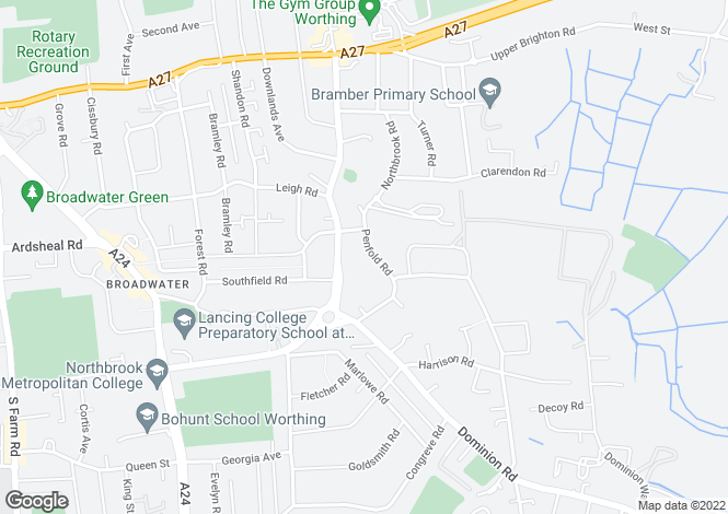 Map for Highfield Court, 75 Penfold Road, Worthing, West Sussex, BN14