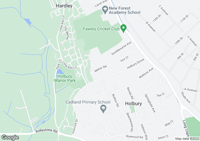 Map for Manor Road, Holbury, Southampton, SO45 2NQ