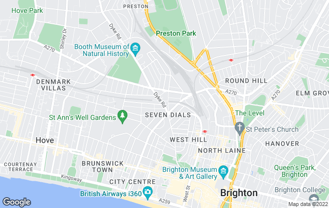 Map for Pembertons Residential Letting, Brighton